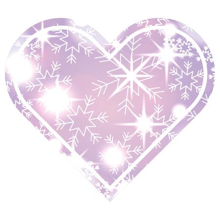 heart snowflake glitter decoration christmas luxury vector illustration Illustration