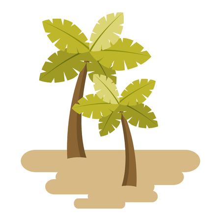 Due palme sulla sabbia pianta tropicale vettoriale illustrazione Archivio Fotografico - 90692393