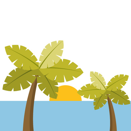 tropical two palm trees and sun ocean paradise vector illustration