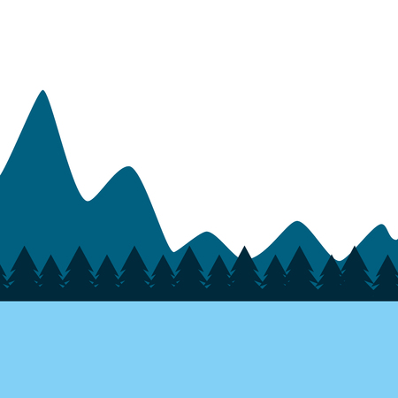 natural mountains with tree pines forest landscape vector illustration