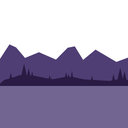 landscape with mountains and forest at night silhouette vector illustration