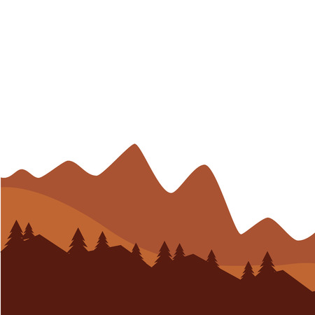 mountain and pine tree sunset or sunrise view silhouette vector illustration