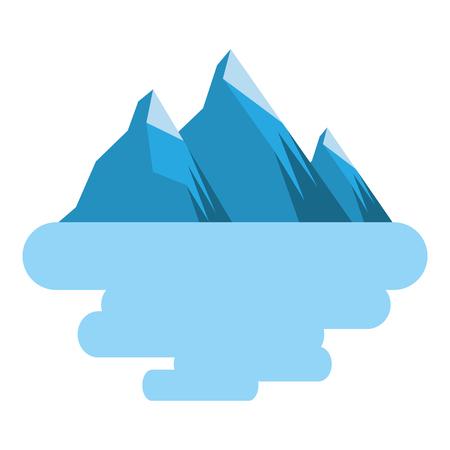 피크 산 눈 풍경 토지 장면 벡터 일러스트 레이션 일러스트