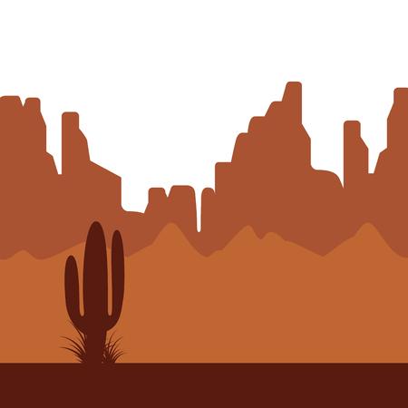 砂漠のサボテンと背景の山の風景。フラットなデザイン スタイル。