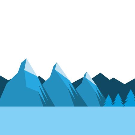 landscpae natural peak mountains snow tree pine water vector illustration