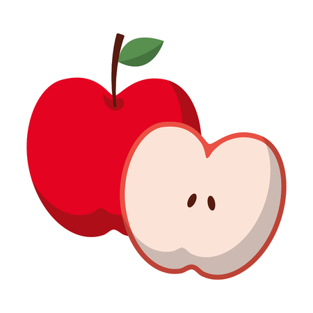 apple and half fruit natural food fresh vector illustration