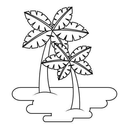 twee palmbomen op zand tropische plant vectorillustratie Stock Illustratie