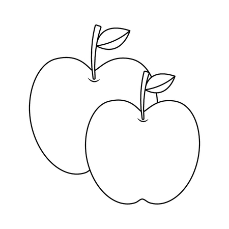 two apple fruit tropical nutrition food health vector illustration Banco de Imagens - 90694763