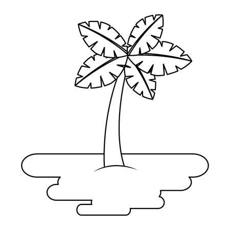 砂島植物植物ベクトルイラストの熱帯ヤシの木