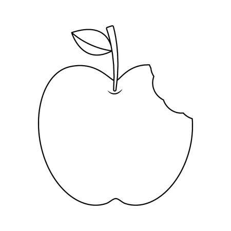 apple with green leaf and bite food outline vector illustration