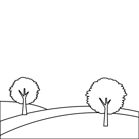 landscape with two trees on the hill vector illustration