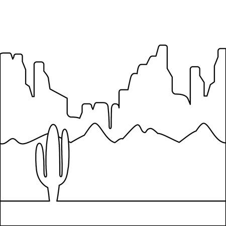 サボテンと山を背景にした砂漠の風景。フラットデザインスタイル。