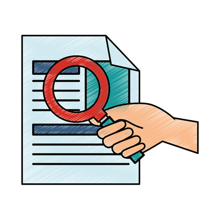 Curriculum vitae with magnifying glass Иллюстрация