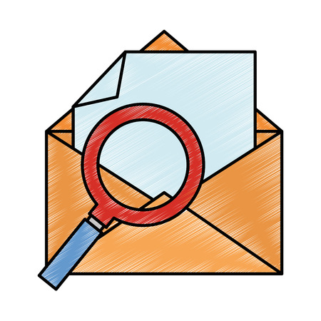 mail envelope with magnifying glass vector illustration design