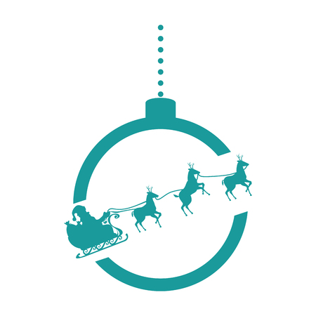 ball christmas with santa carriage vector illustration design Illustration