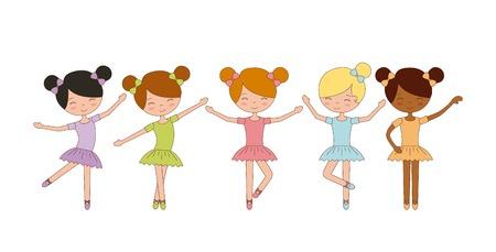 かわいいバレリーナの女の子がバレエを練習してダンス ベクトル図