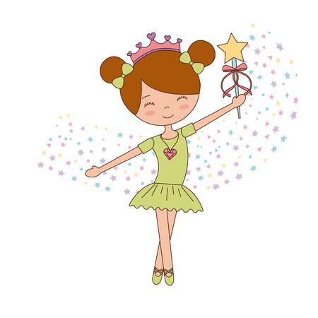 ballet petite fille dansant avec des étoiles décoration illustration vectorielle