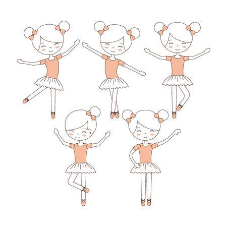 Nette Ballerina Mädchen üben Ballett Tanz Vektor-Illustration Standard-Bild - 90791915