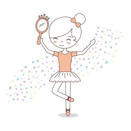 ballet little girl dancing with stars decoration vector illustration Vettoriali