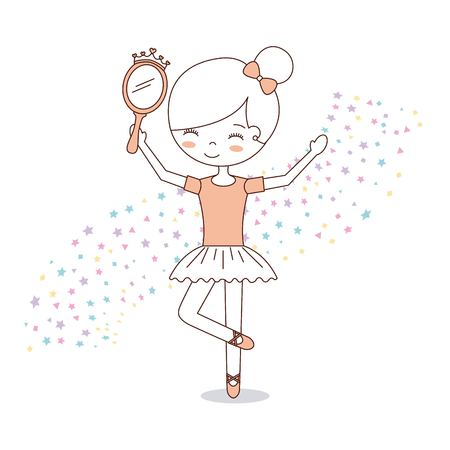 ballet little girl dancing with stars decoration vector illustration Vectores