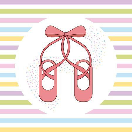 Elegante de zapatos de ballet rosa con rayas de cinta ilustración vectorial de fondo Foto de archivo - 90791922