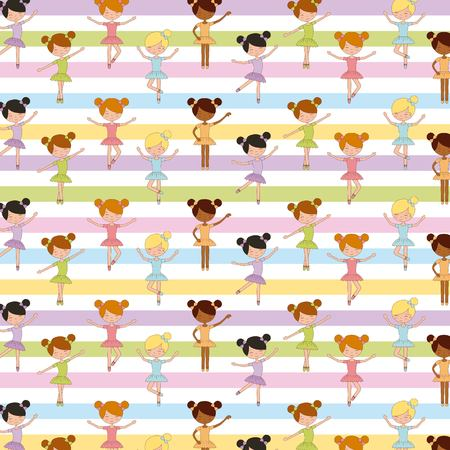 ballet girl dancing performance studio seamless pattern vector illustration