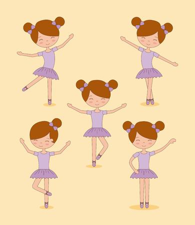 cute ballerina girls practicing ballet dance vector illustration