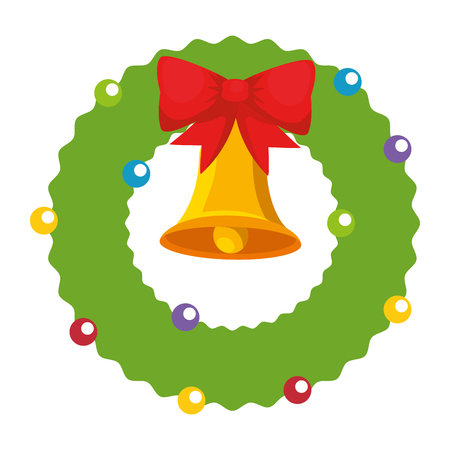 christmas crown with bell decorative vector illustration design Stock Vector - 90791930