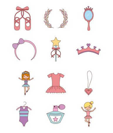 ballet set of dancer things girl ballet dress shoes crown vector illustration