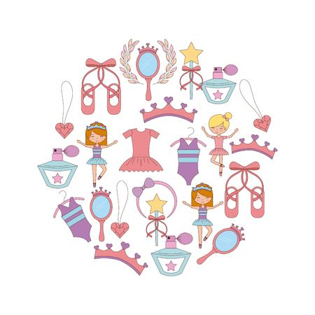 バレエセット のバレエセット 女の子バレエドレスシューズ クラウンベクトルイラスト  イラスト・ベクター素材