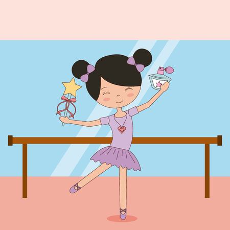 ballerina in dance for ballet school or studio performance vector illustration Illustration