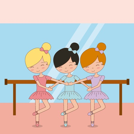 バレエダンスベクトルイラストを練習かわいいバレリーナの女の子  イラスト・ベクター素材
