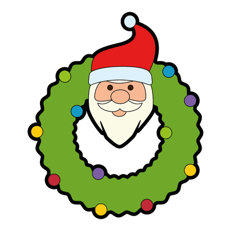 christmas crown with head santa decorative vector illustration design