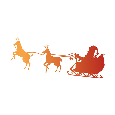 santa carriage with reindeer flying vector illustration design