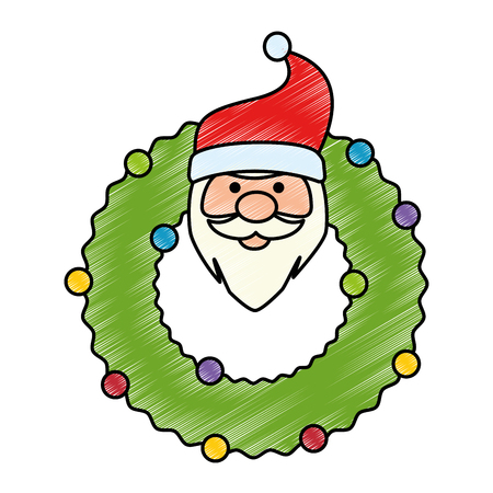 christmas crown with head santa decorative vector illustration design