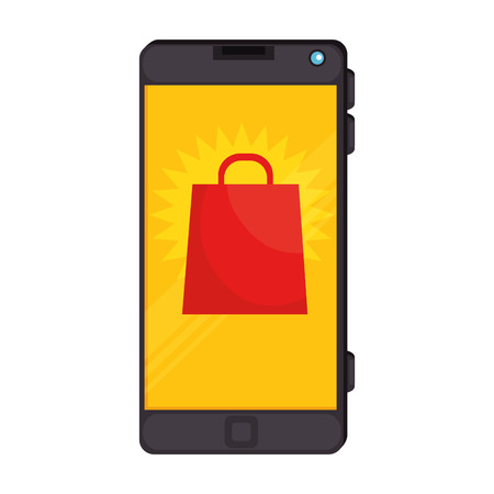 smartphone device with shopping bag vector illustration