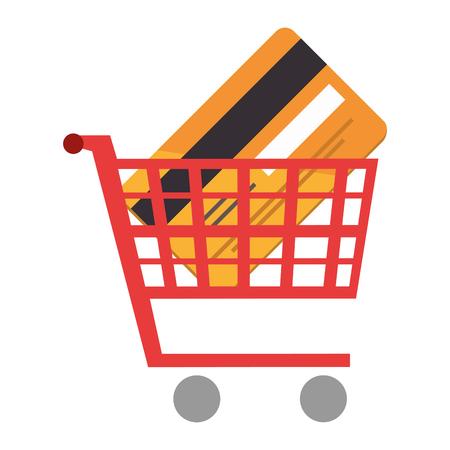 shopping cart with credit card vector illustration design Illustration
