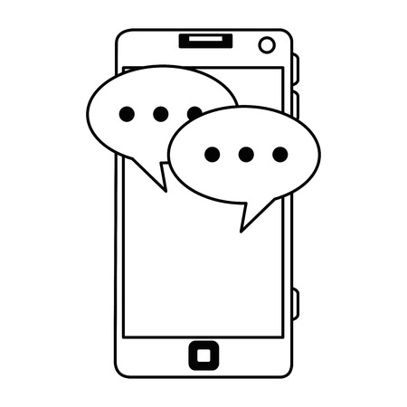 smartphone device with speech bubbles vector illustration Illustration