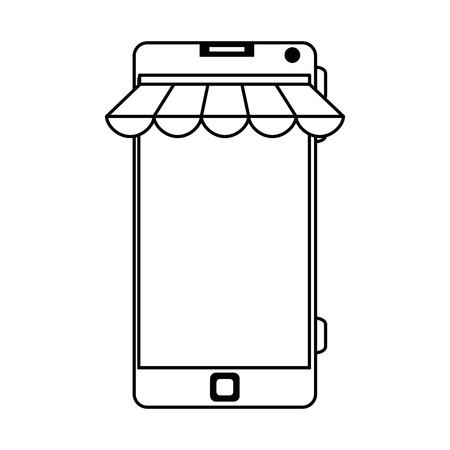 smartphone device with parasol vector illustration design