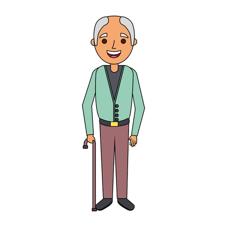 old man grandfather character standing vector illustration Illusztráció