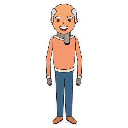 Retrato de anciano de una ilustración de vector de personaje abuelo pensionista
