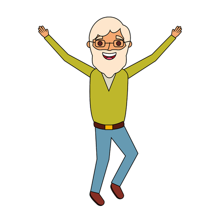 old man happy grandfather hands up character vector illustration