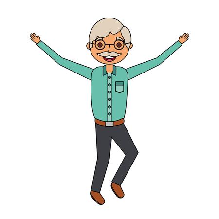 老人幸せな祖父がキャラクターベクトルイラストを手にする 写真素材 - 90800553