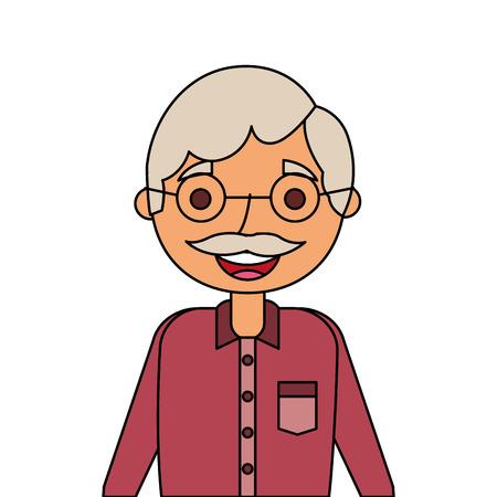 年金受給者の祖父キャラクターベクトルイラストの老人肖像画  イラスト・ベクター素材
