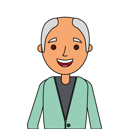 old man portrait of a pensioner grandfather character vector illustration