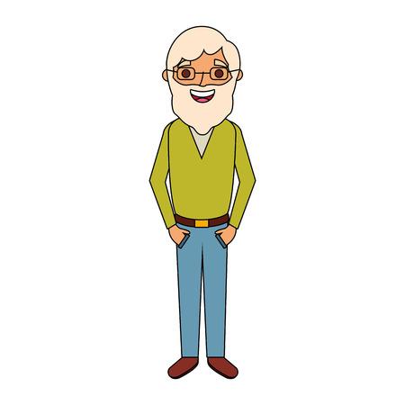 old man grandfather character standing vector illustration Иллюстрация