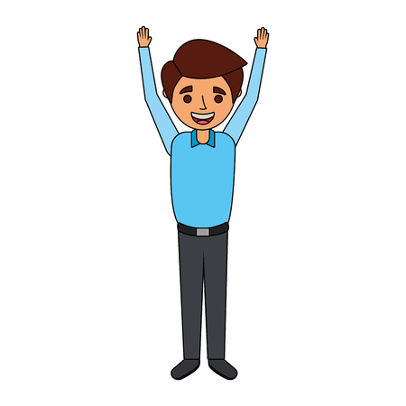 young man happy raising arms smiling vector illustration Ilustração