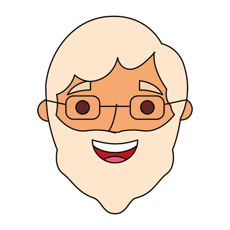 the face old man profile avatar of the grandfather vector illustration Çizim