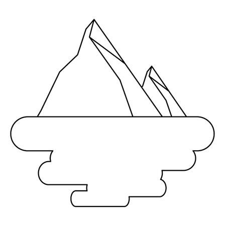 two mountain peak natural flora land scene vector illustration