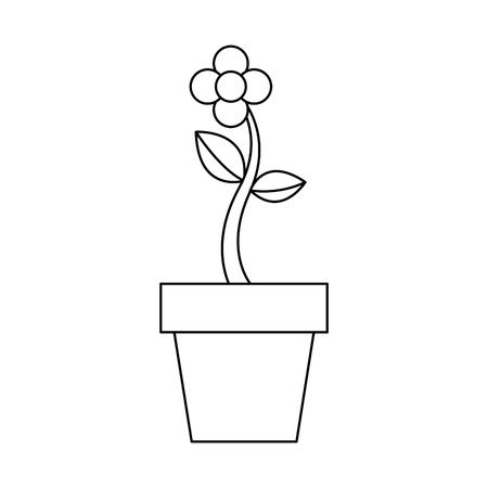 potted flower natural plant decoration vector illustration